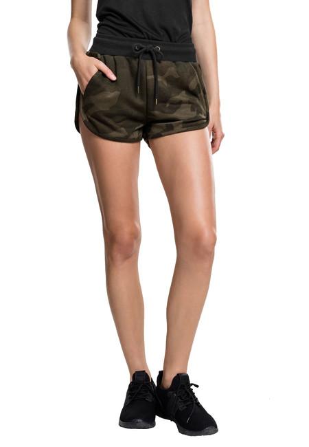 Urban Classics Pantaloni scurți de damă, oliv camo